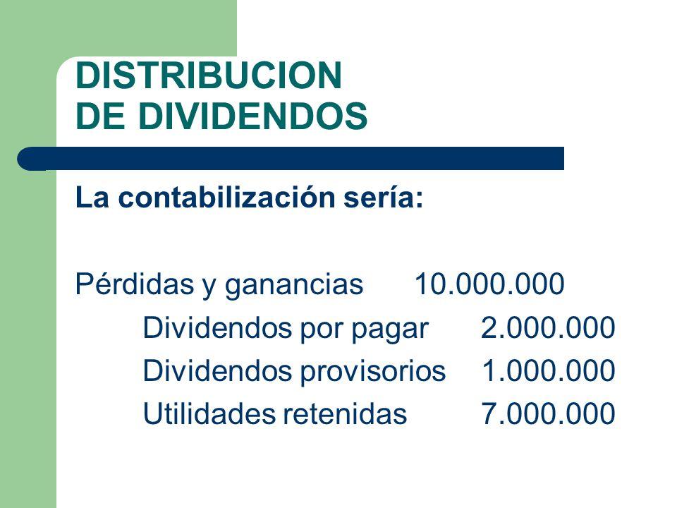 DISTRIBUCION DE DIVIDENDOS La contabilización sería: Pérdidas y ganancias10.000.000 Dividendos por pagar 2.000.000 Dividendos provisorios 1.000.000 Ut