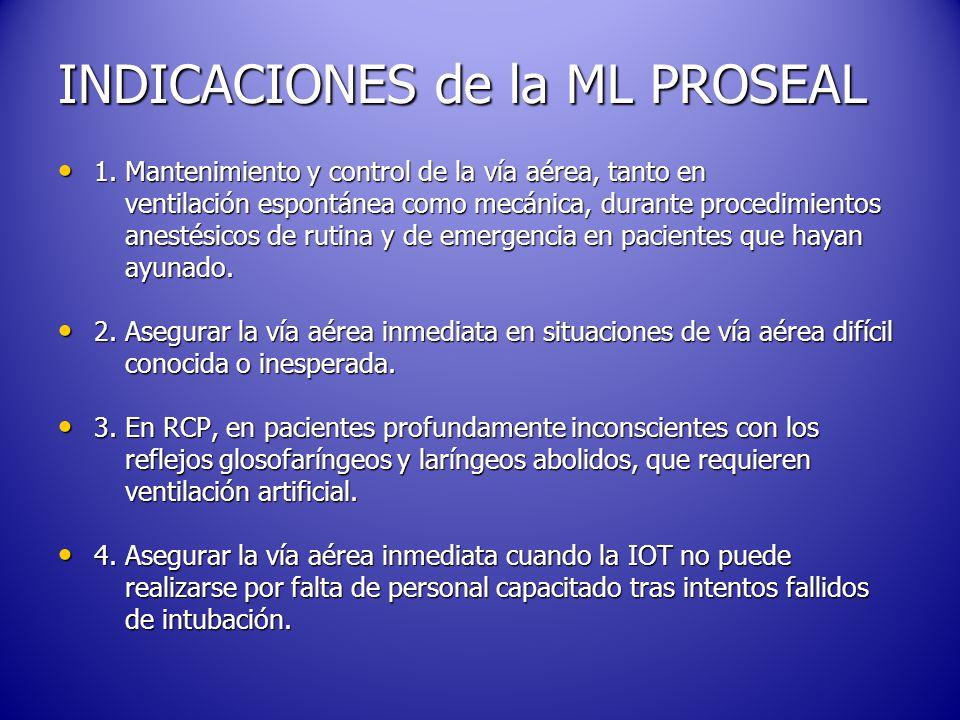 INDICACIONES de la ML PROSEAL 1.Mantenimiento y control de la vía aérea, tanto en 1.