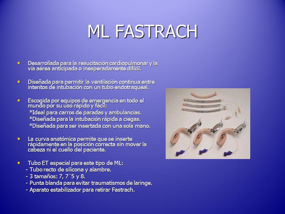 ML FASTRACH Desarrollada para la resucitación cardiopulmonar y la vía aérea anticipada o inesperadamente difícil.