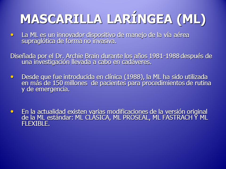 MASCARILLA LARÍNGEA (ML) La ML es un innovador dispositivo de manejo de la vía aérea supraglótica de forma no invasiva.
