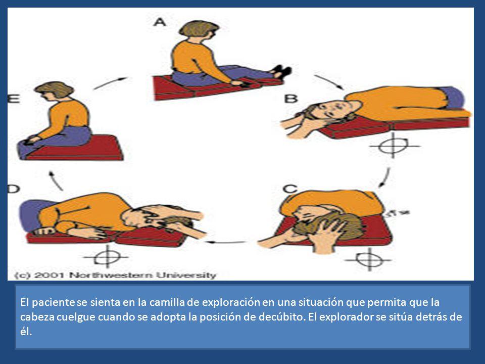 El paciente se sienta en la camilla de exploración en una situación que permita que la cabeza cuelgue cuando se adopta la posición de decúbito. El exp