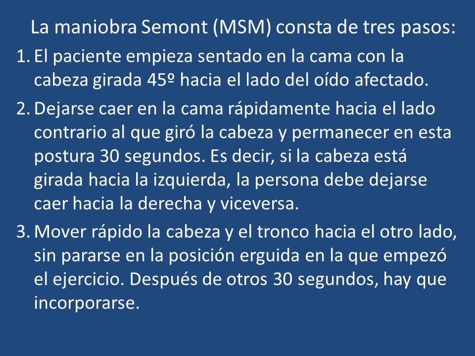 La maniobra Semont (MSM) consta de tres pasos: 1.El paciente empieza sentado en la cama con la cabeza girada 45º hacia el lado del oído afectado. 2.De