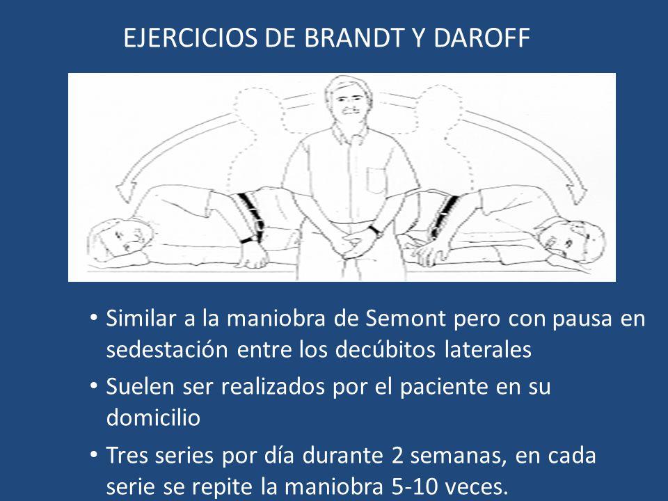 EJERCICIOS DE BRANDT Y DAROFF Similar a la maniobra de Semont pero con pausa en sedestación entre los decúbitos laterales Suelen ser realizados por el
