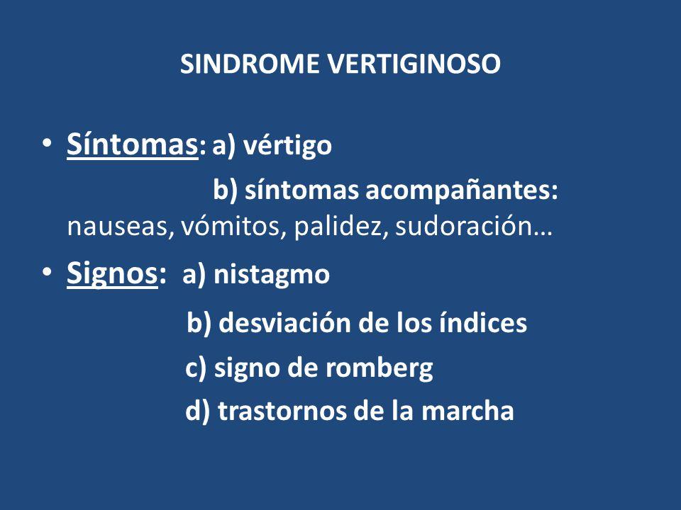 SINDROME VERTIGINOSO Síntomas : a) vértigo b) síntomas acompañantes: nauseas, vómitos, palidez, sudoración… Signos: a) nistagmo b) desviación de los í