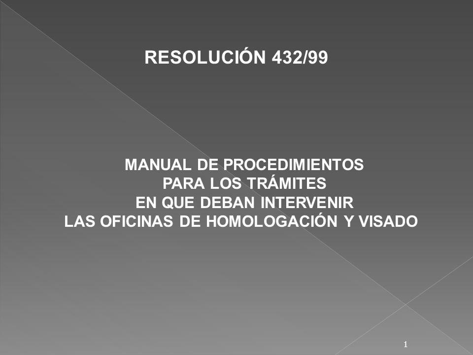 MANUAL DE PROCEDIMIENTOS PARA LOS TRÁMITES EN QUE DEBAN INTERVENIR LAS OFICINAS DE HOMOLOGACIÓN Y VISADO RESOLUCIÓN 432/99 1