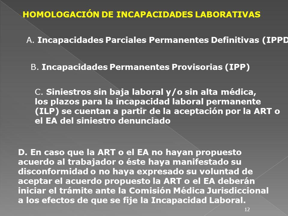 HOMOLOGACIÓN DE INCAPACIDADES LABORATIVAS A. Incapacidades Parciales Permanentes Definitivas (IPPD) B. Incapacidades Permanentes Provisorias (IPP) C.