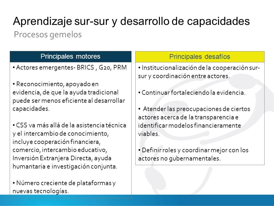 Principales motores Actores emergentes- BRICS, G20, PRM Reconocimiento, apoyado en evidencia, de que la ayuda tradicional puede ser menos eficiente al desarrollar capacidades.