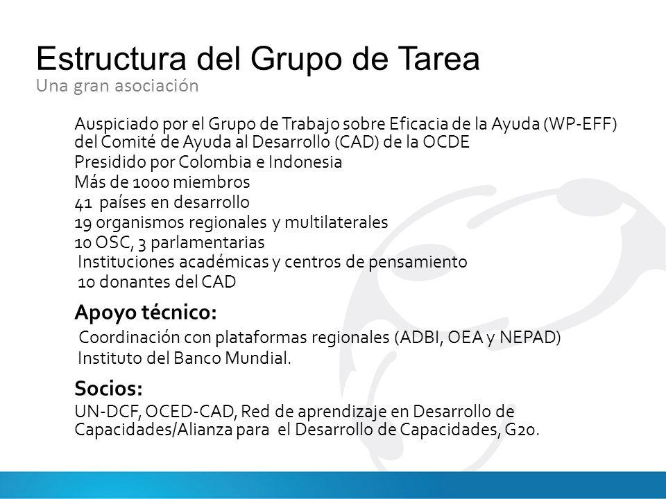 Estructura del Grupo de Tarea Auspiciado por el Grupo de Trabajo sobre Eficacia de la Ayuda (WP-EFF) del Comité de Ayuda al Desarrollo (CAD) de la OCDE Presidido por Colombia e Indonesia Más de 1000 miembros 41 países en desarrollo 19 organismos regionales y multilaterales 10 OSC, 3 parlamentarias Instituciones académicas y centros de pensamiento 10 donantes del CAD Apoyo técnico: Coordinación con plataformas regionales (ADBI, OEA y NEPAD) Instituto del Banco Mundial.