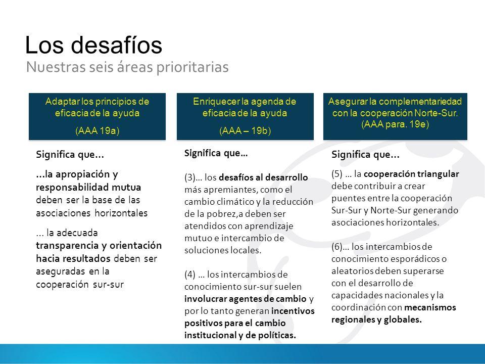 Los desafíos Nuestras seis áreas prioritarias Adaptar los principios de eficacia de la ayuda (AAA 19a) Adaptar los principios de eficacia de la ayuda (AAA 19a) Enriquecer la agenda de eficacia de la ayuda (AAA – 19b) Enriquecer la agenda de eficacia de la ayuda (AAA – 19b) Asegurar la complementariedad con la cooperación Norte-Sur.