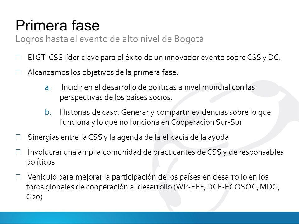 Primera fase Logros hasta el evento de alto nivel de Bogotá El GT-CSS líder clave para el éxito de un innovador evento sobre CSS y DC.