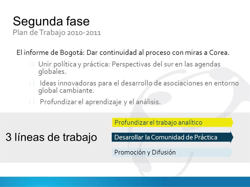 Segunda fase Plan de Trabajo 2010-2011 El informe de Bogotá: Dar continuidad al proceso con miras a Corea.