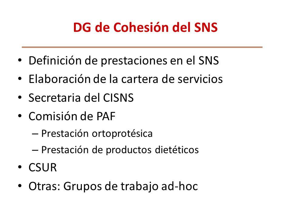 DG de Cohesión del SNS Definición de prestaciones en el SNS Elaboración de la cartera de servicios Secretaria del CISNS Comisión de PAF – Prestación ortoprotésica – Prestación de productos dietéticos CSUR Otras: Grupos de trabajo ad-hoc