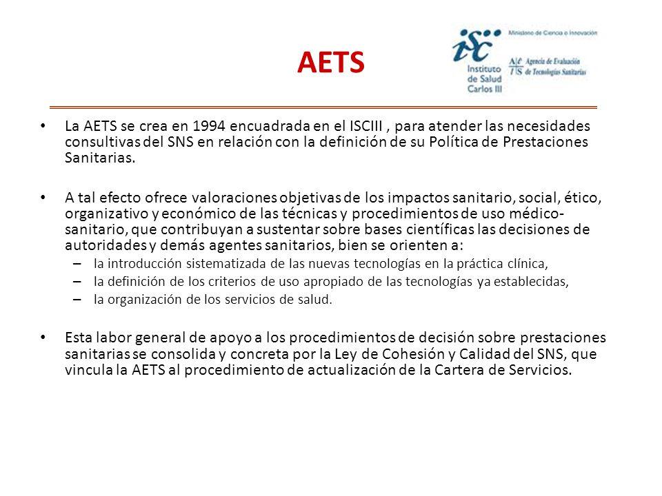 La AETS se crea en 1994 encuadrada en el ISCIII, para atender las necesidades consultivas del SNS en relación con la definición de su Política de Prestaciones Sanitarias.