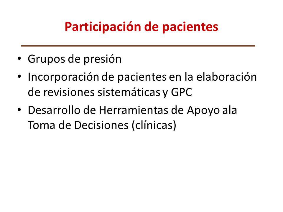 Participación de pacientes Grupos de presión Incorporación de pacientes en la elaboración de revisiones sistemáticas y GPC Desarrollo de Herramientas de Apoyo ala Toma de Decisiones (clínicas)