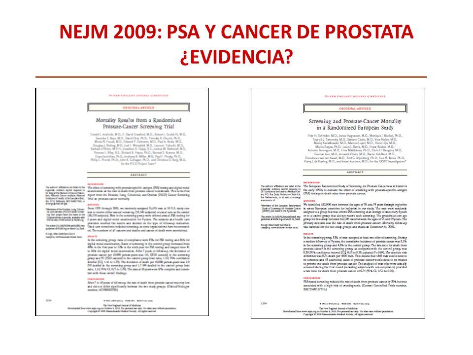 NEJM 2009: PSA Y CANCER DE PROSTATA ¿EVIDENCIA?