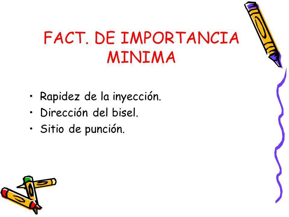 FACT. DE IMPORTANCIA MINIMA Rapidez de la inyección. Dirección del bisel. Sitio de punción.