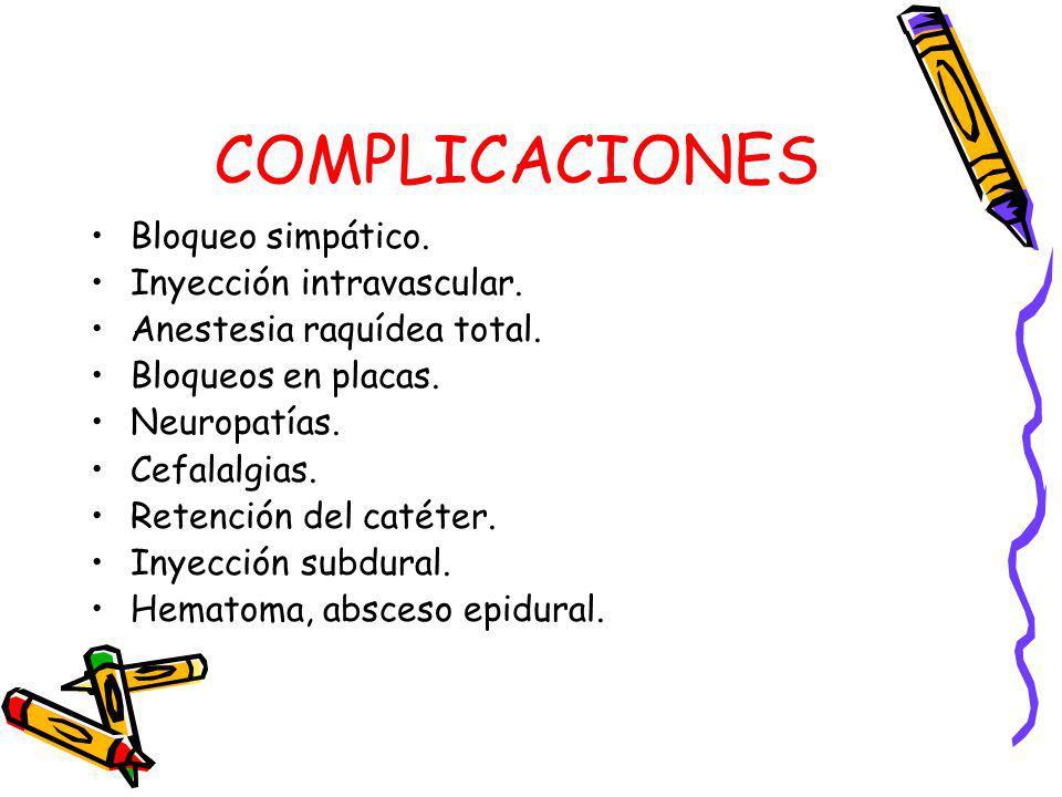 COMPLICACIONES Bloqueo simpático. Inyección intravascular. Anestesia raquídea total. Bloqueos en placas. Neuropatías. Cefalalgias. Retención del catét