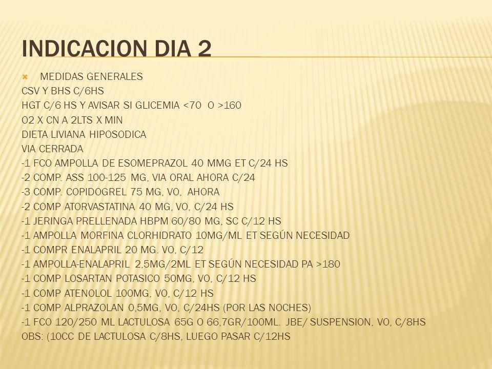 INDICACION DIA 2 MEDIDAS GENERALES CSV Y BHS C/6HS HGT C/6 HS Y AVISAR SI GLICEMIA 160 O2 X CN A 2LTS X MIN DIETA LIVIANA HIPOSODICA VIA CERRADA -1 FC