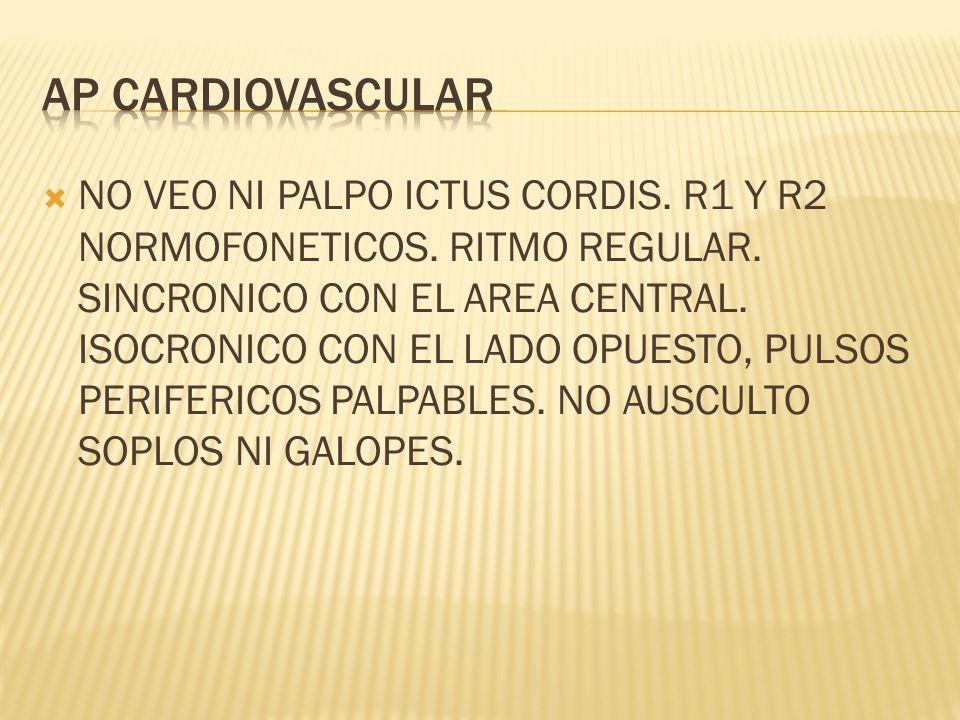 NO VEO NI PALPO ICTUS CORDIS. R1 Y R2 NORMOFONETICOS.