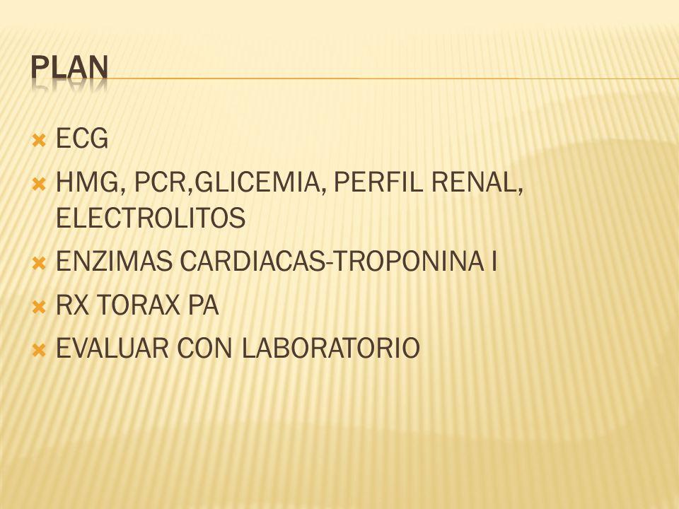 ECG HMG, PCR,GLICEMIA, PERFIL RENAL, ELECTROLITOS ENZIMAS CARDIACAS-TROPONINA I RX TORAX PA EVALUAR CON LABORATORIO