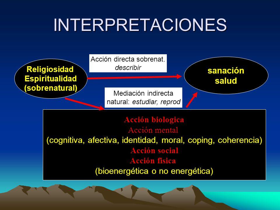 INTERPRETACIONES Religiosidad Espiritualidad (sobrenatural) sanación salud Acción directa sobrenat.