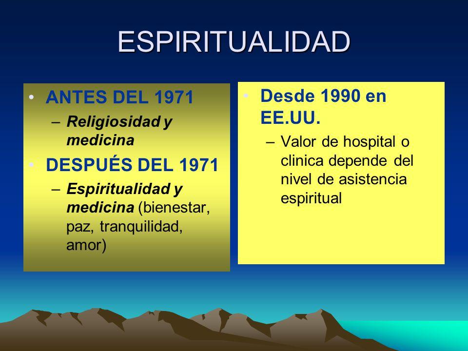 ESPIRITUALIDAD ANTES DEL 1971 –Religiosidad y medicina DESPUÉS DEL 1971 –Espiritualidad y medicina (bienestar, paz, tranquilidad, amor) Desde 1990 en EE.UU.