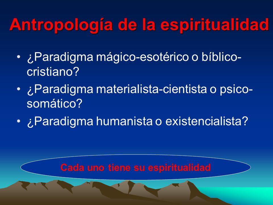 Antropología de la espiritualidad ¿Paradigma mágico-esotérico o bíblico- cristiano.