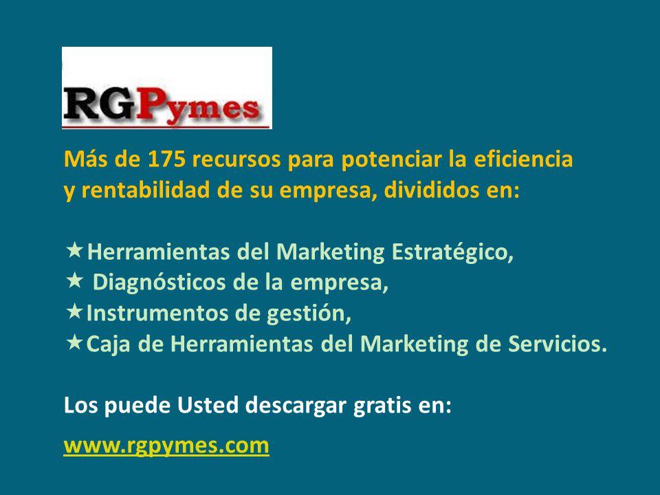 Más de 175 recursos para potenciar la eficiencia y rentabilidad de su empresa, divididos en: Herramientas del Marketing Estratégico, Diagnósticos de l