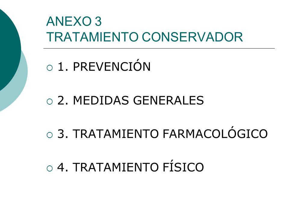 ANEXO 3 TRATAMIENTO CONSERVADOR 1. PREVENCIÓN 2. MEDIDAS GENERALES 3. TRATAMIENTO FARMACOLÓGICO 4. TRATAMIENTO FÍSICO