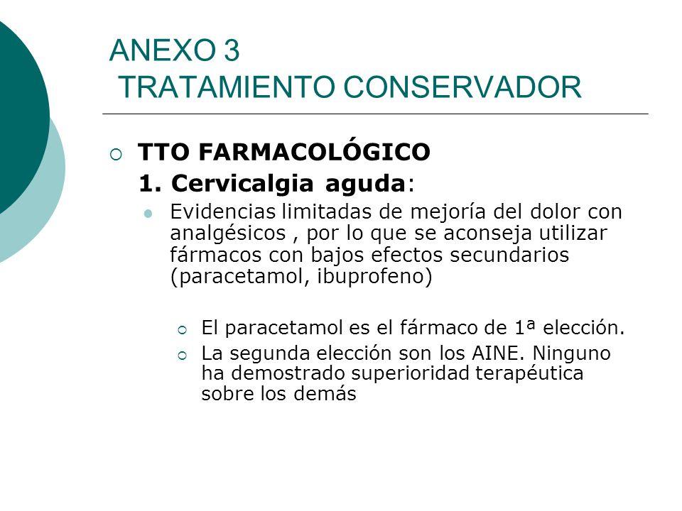 ANEXO 3 TRATAMIENTO CONSERVADOR TTO FARMACOLÓGICO 1. Cervicalgia aguda: Evidencias limitadas de mejoría del dolor con analgésicos, por lo que se acons