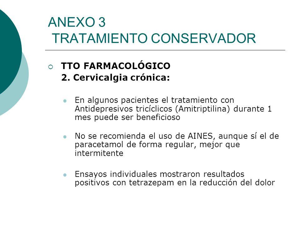 ANEXO 3 TRATAMIENTO CONSERVADOR TTO FARMACOLÓGICO 2. Cervicalgia crónica: En algunos pacientes el tratamiento con Antidepresivos tricíclicos (Amitript