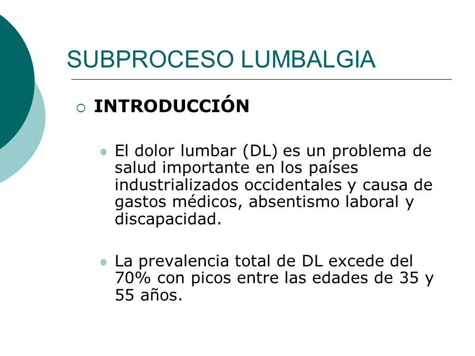 SUBPROCESO LUMBALGIA INTRODUCCIÓN El dolor lumbar (DL) es un problema de salud importante en los países industrializados occidentales y causa de gastos médicos, absentismo laboral y discapacidad.