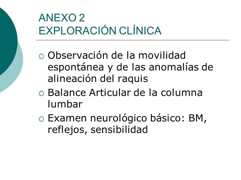 ANEXO 2 EXPLORACIÓN CLÍNICA Observación de la movilidad espontánea y de las anomalías de alineación del raquis Balance Articular de la columna lumbar Examen neurológico básico: BM, reflejos, sensibilidad