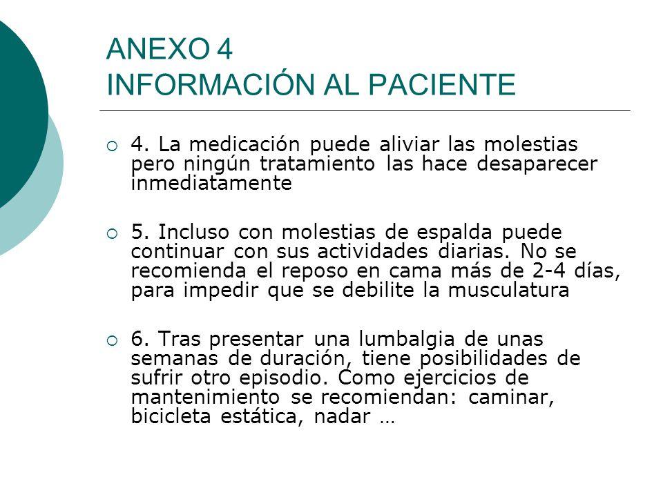 ANEXO 4 INFORMACIÓN AL PACIENTE 4. La medicación puede aliviar las molestias pero ningún tratamiento las hace desaparecer inmediatamente 5. Incluso co