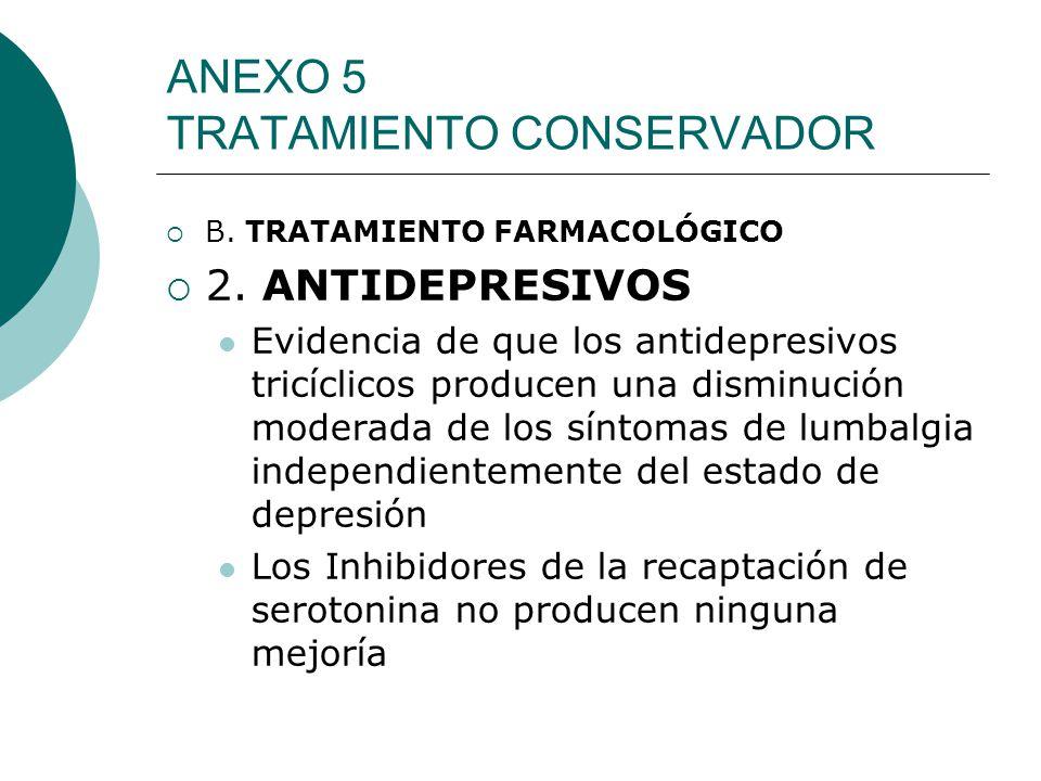 ANEXO 5 TRATAMIENTO CONSERVADOR B. TRATAMIENTO FARMACOLÓGICO 2. ANTIDEPRESIVOS Evidencia de que los antidepresivos tricíclicos producen una disminució