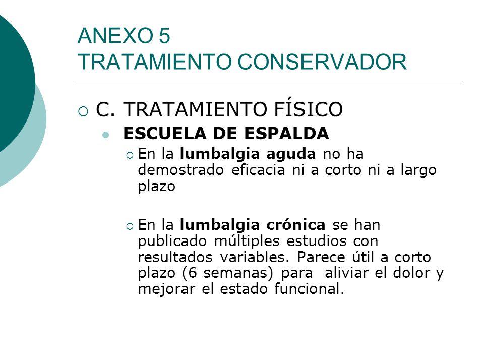 ANEXO 5 TRATAMIENTO CONSERVADOR C. TRATAMIENTO FÍSICO ESCUELA DE ESPALDA En la lumbalgia aguda no ha demostrado eficacia ni a corto ni a largo plazo E