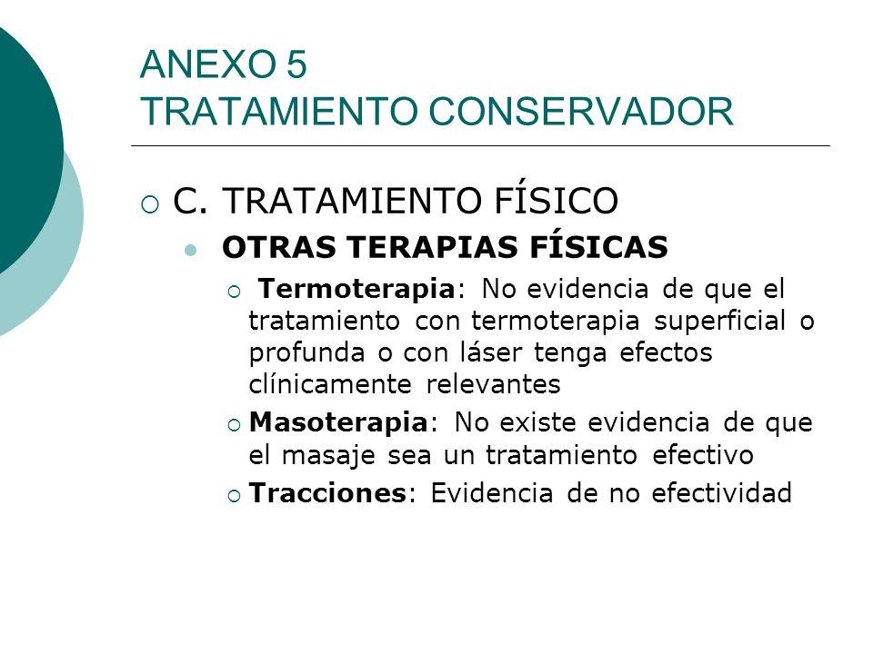 ANEXO 5 TRATAMIENTO CONSERVADOR C. TRATAMIENTO FÍSICO OTRAS TERAPIAS FÍSICAS Termoterapia: No evidencia de que el tratamiento con termoterapia superfi