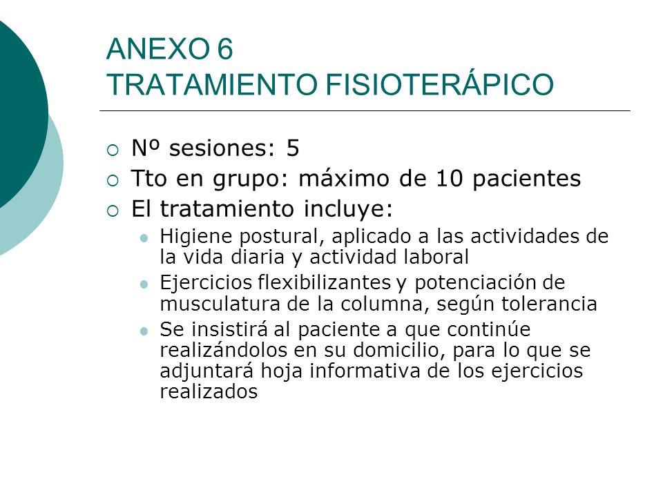 ANEXO 6 TRATAMIENTO FISIOTERÁPICO Nº sesiones: 5 Tto en grupo: máximo de 10 pacientes El tratamiento incluye: Higiene postural, aplicado a las activid