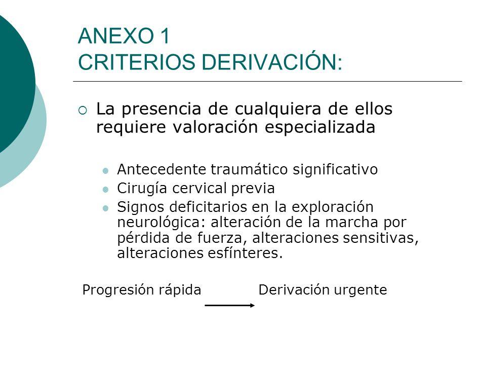 ANEXO 1 CRITERIOS DERIVACIÓN: La presencia de cualquiera de ellos requiere valoración especializada Antecedente traumático significativo Cirugía cervi