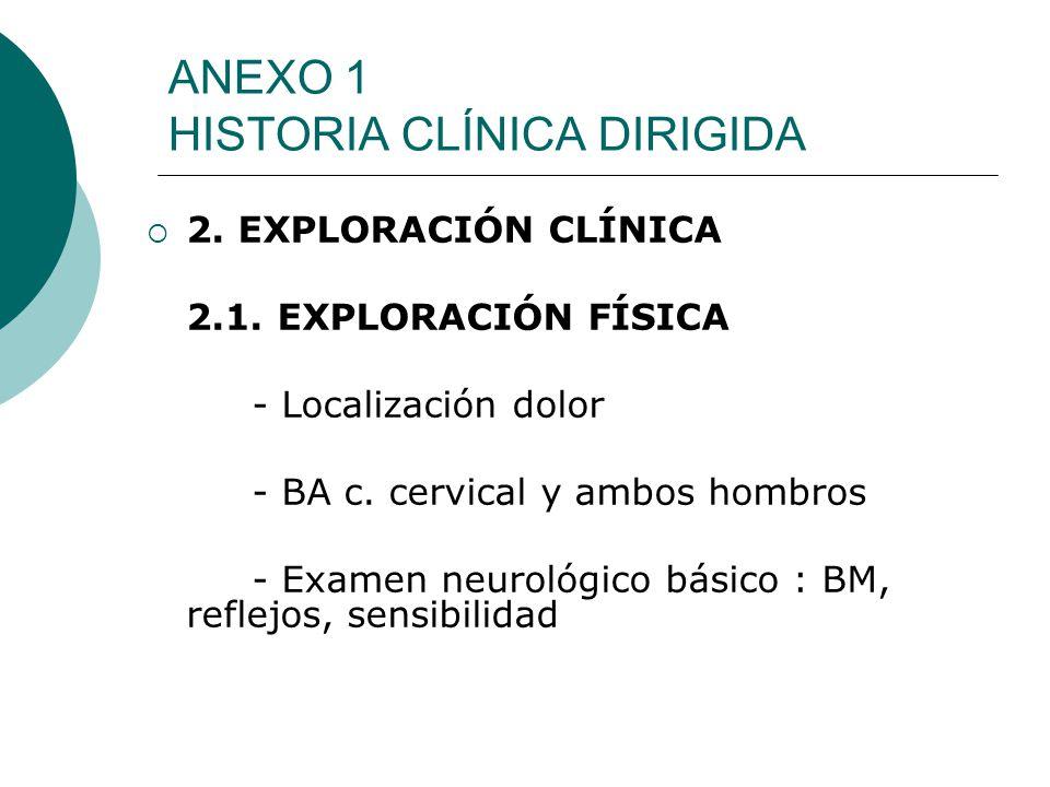 ANEXO 1 HISTORIA CLÍNICA DIRIGIDA 2. EXPLORACIÓN CLÍNICA 2.1. EXPLORACIÓN FÍSICA - Localización dolor - BA c. cervical y ambos hombros - Examen neurol