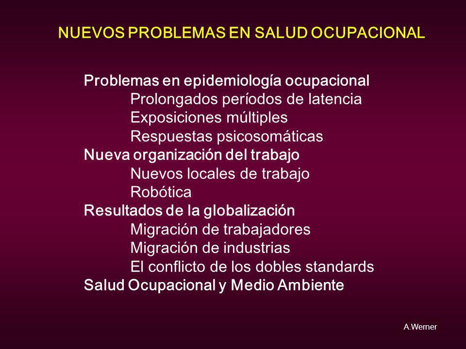 NUEVOS PROBLEMAS EN SALUD OCUPACIONAL Problemas en epidemiología ocupacional Prolongados períodos de latencia Exposiciones múltiples Respuestas psicos