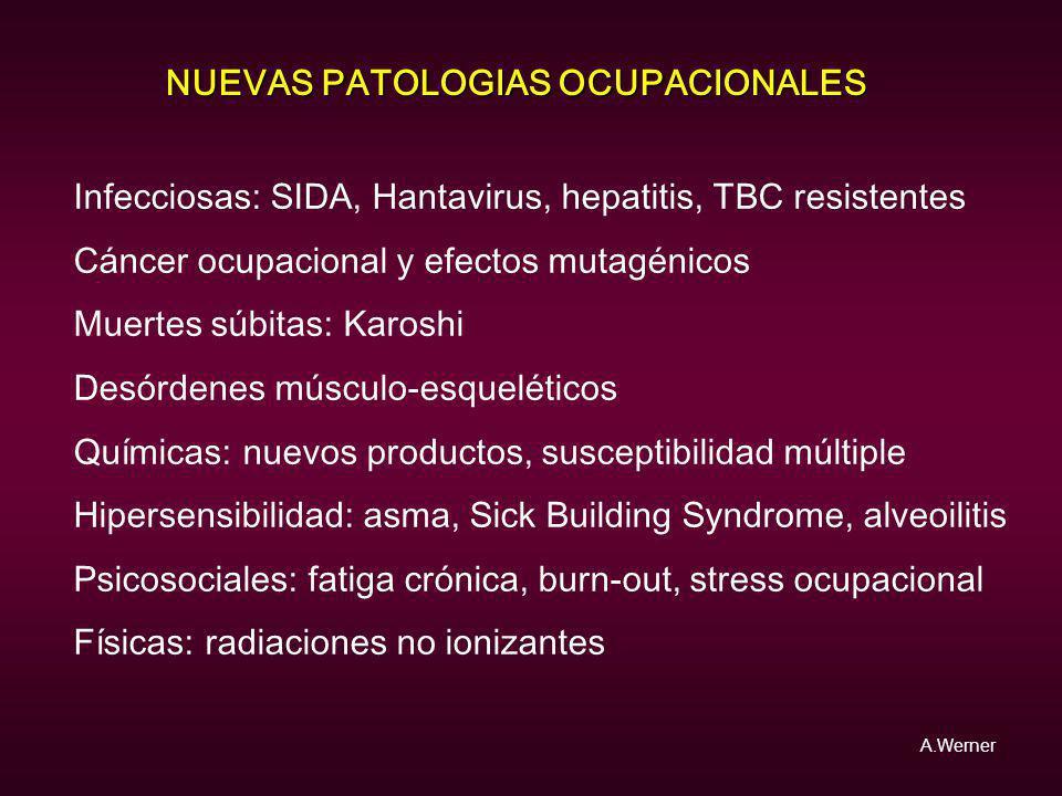 NUEVAS PATOLOGIAS OCUPACIONALES Infecciosas: SIDA, Hantavirus, hepatitis, TBC resistentes Cáncer ocupacional y efectos mutagénicos Muertes súbitas: Ka