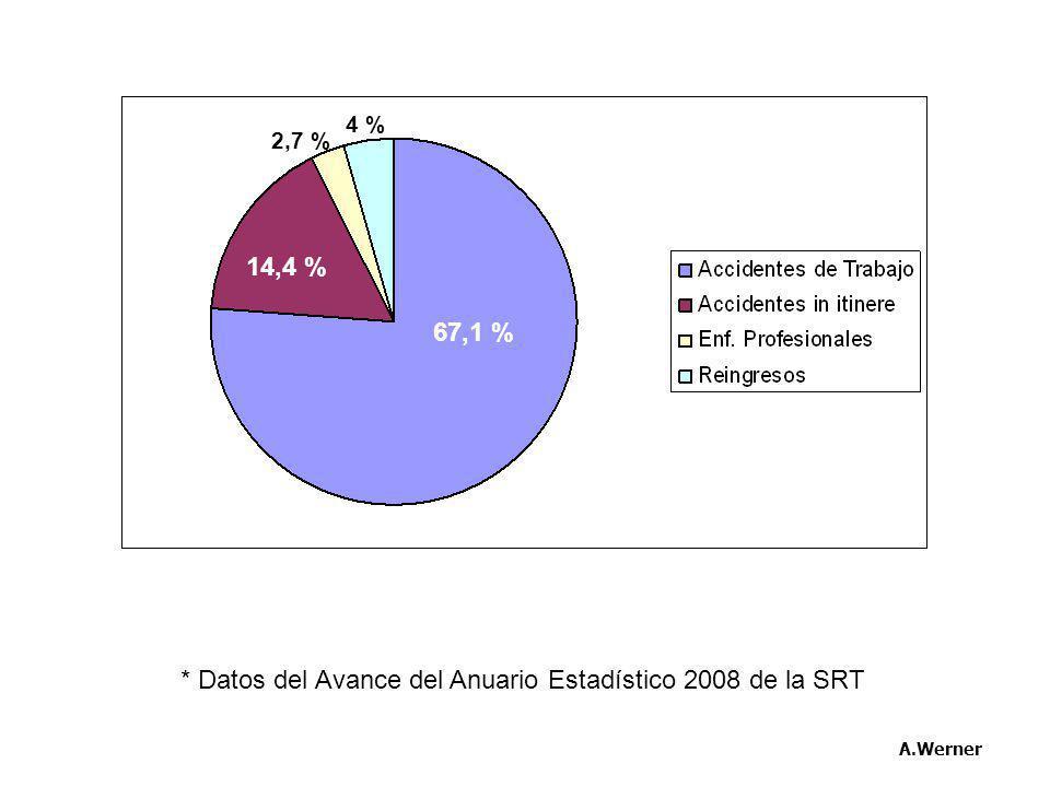 * Datos del Avance del Anuario Estadístico 2008 de la SRT A.Werner 67,1 % 14,4 % 4 % 2,7 %