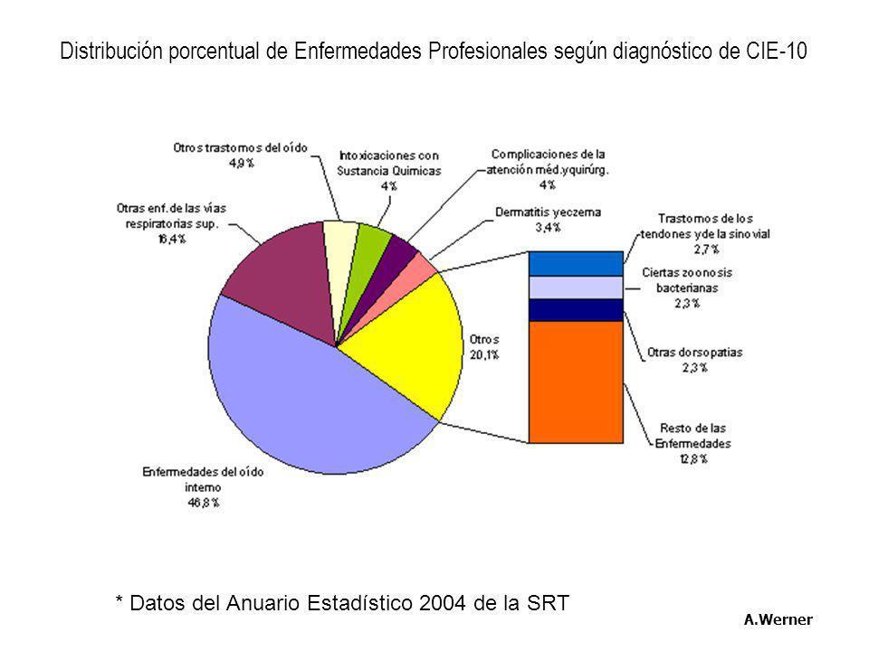 * Datos del Anuario Estadístico 2004 de la SRT A.Werner Distribución porcentual de Enfermedades Profesionales según diagnóstico de CIE-10