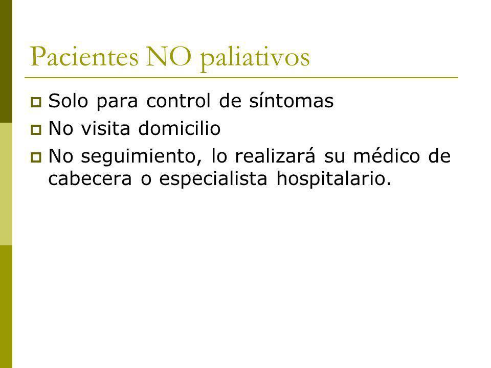 Pacientes NO paliativos Solo para control de síntomas No visita domicilio No seguimiento, lo realizará su médico de cabecera o especialista hospitalar