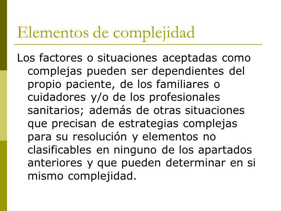 Elementos de complejidad Los factores o situaciones aceptadas como complejas pueden ser dependientes del propio paciente, de los familiares o cuidador