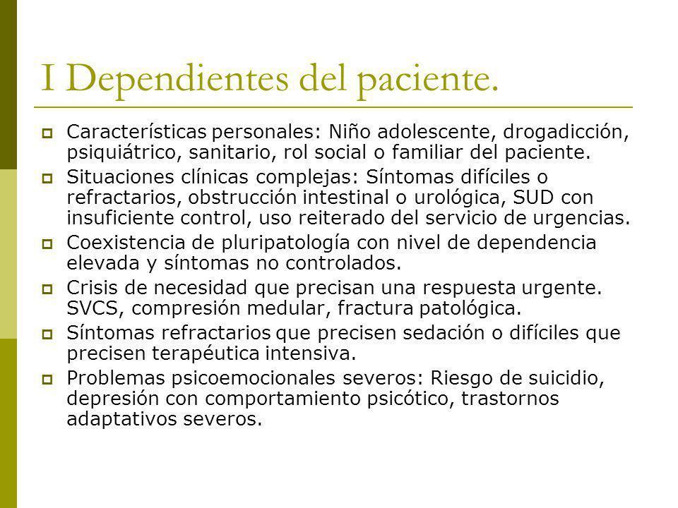 I Dependientes del paciente. Características personales: Niño adolescente, drogadicción, psiquiátrico, sanitario, rol social o familiar del paciente.