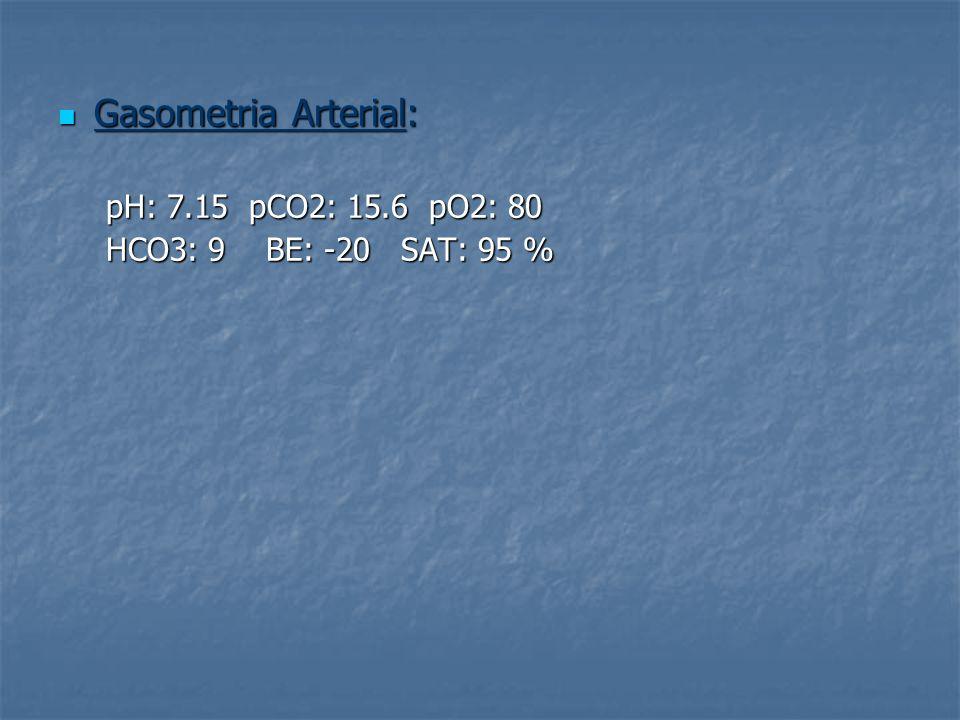 Gasometria Arterial: Gasometria Arterial: pH: 7.15 pCO2: 15.6 pO2: 80 HCO3: 9 BE: -20 SAT: 95 %