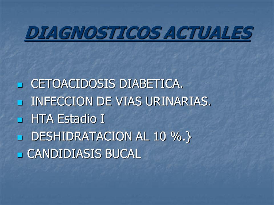 DIAGNOSTICOS ACTUALES CETOACIDOSIS DIABETICA. CETOACIDOSIS DIABETICA. INFECCION DE VIAS URINARIAS. INFECCION DE VIAS URINARIAS. HTA Estadio I HTA Esta