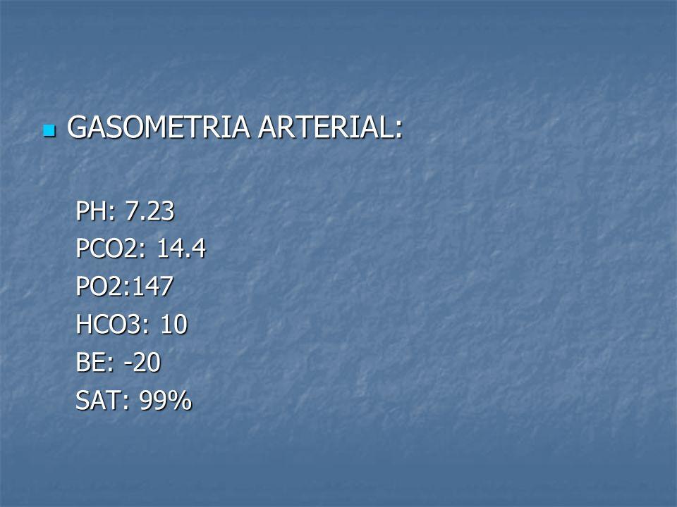 GASOMETRIA ARTERIAL: GASOMETRIA ARTERIAL: PH: 7.23 PCO2: 14.4 PO2:147 HCO3: 10 BE: -20 SAT: 99%